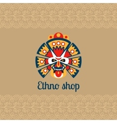 Ethno shop card with mask vector image