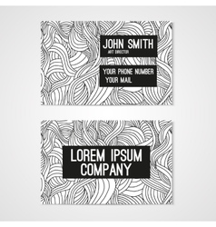 Business card template whit hand-drawn waves vector