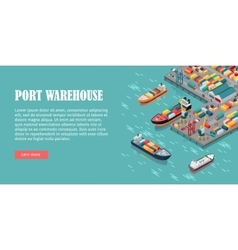 Cargo port in isometric projection vector