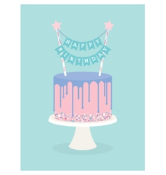 Birthday cake with frosting and decoration vector