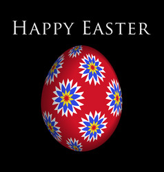 Greeting card colored flowers on easter egg vector