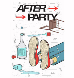 Afterparty placard drunk tired guy asleep vector