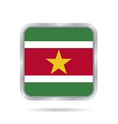 Flag of suriname metallic gray square button vector