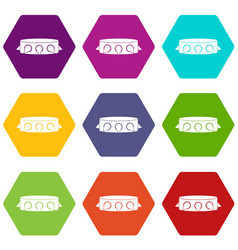 Rock collar icon set color hexahedron vector