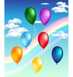 balloons with rainbow vector image