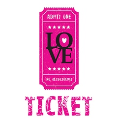 Pink love ticket vector
