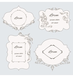Set vintage ornamental frame labels vector