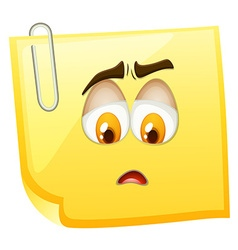 Sad face on yellow paper vector
