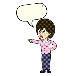 cartoon woman accusing with speech bubble vector image