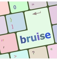 Button with bruise word on computer keyboard keys vector