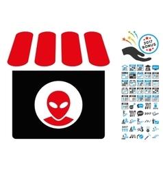 Alien Shop Icon with 2017 Year Bonus Symbols vector image vector image