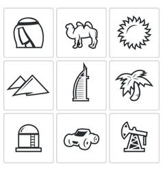 Arab emirates icons vector