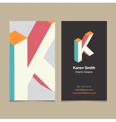 Business card letter k vector