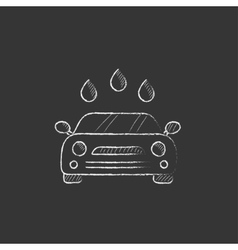 Car wash drawn in chalk icon vector