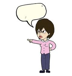 Cartoon woman accusing with speech bubble vector