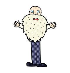 Comic cartoon bearded old man vector