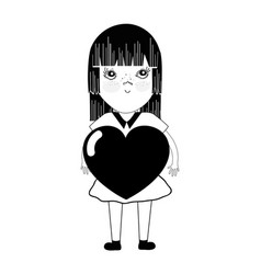 Contour pretty girl with heart in the hand and vector