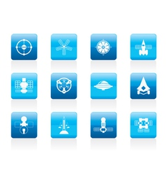 different kinds of future spacecraft icons vector image