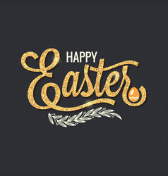 Easter vintage gold lettering design background vector