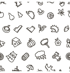 Fall season balck and white cute seamless pattern vector image vector image