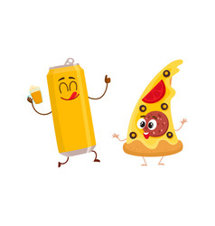 Funny beer can and yummy pizza slice characters vector
