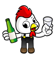 Funny chicken character drinks the best distilled vector