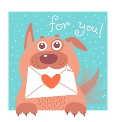 Funny dog brought the envelope vector image