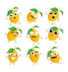 Funny lemon - isolated cartoon emoticons vector