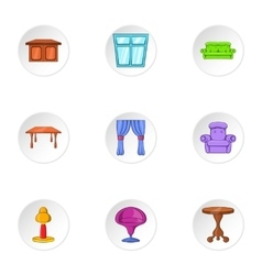 Furniture icons set cartoon style vector