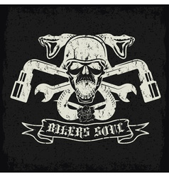 grunge biker theme label with pistonsflowerssnakes vector image