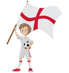 Happy soccer fan holds english flag vector