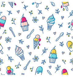 Ice cream and botanical pattern vector