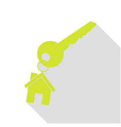 Key with keychain as an house sign pear icon with vector