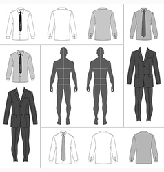 Man clothing outlined template set vector