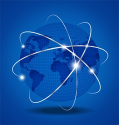 Network Global over blue background vector image