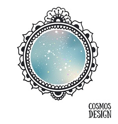 Ornamental boho style frame with space inside vector