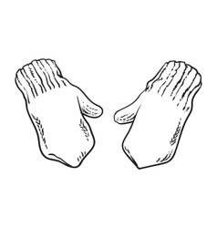 Pair of bright winter knitted mittens with vector image vector image