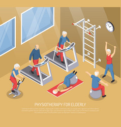 Physiotherapy for elderly isometric vector
