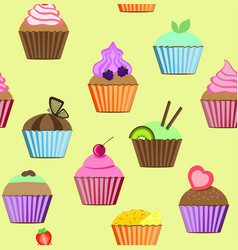 seamless patterns cakes set vector image