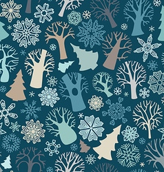 Seamless winter trees pattern vector