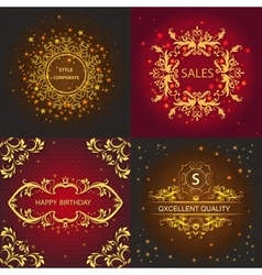 Set greeting card floral ornament shiny lights vector image vector image