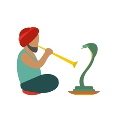 Snake-charmer flat icon vector