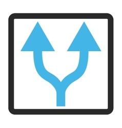 Split arrows up framed icon vector