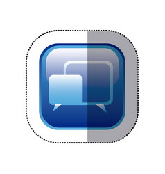 Sticker blue square frame with speech icon vector