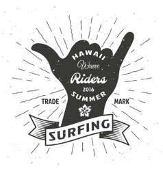 Surfing Hand Poster vector image