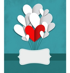with paper hearts vector image vector image