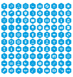 100 photo icons set blue vector