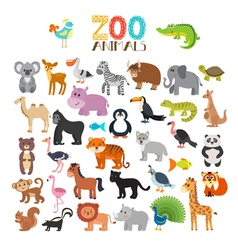 Collection of zoo animals set of cute cartoon vector