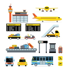 Airport object flat design set vector
