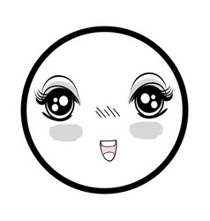 Symbol anime surprised happy face woman vector